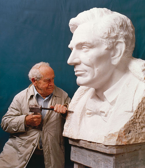 Avard T. Fairbanks carving a colossal portrait of Lincoln